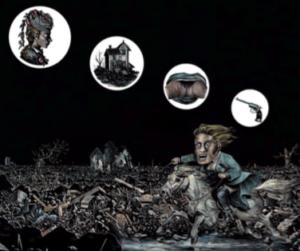 Matthias Lehmann, La fuite à cheval, 2014. Carte à gratter et encres de couleur, 55x60 cm. Exposé à la Halle saint Pierre 2015 et à Drawing Now 2016.