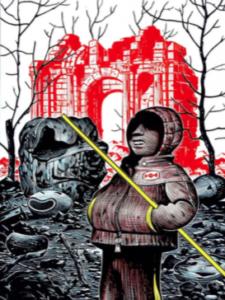 Matthias Lehmann, La ville rouge, 2018. Carte à gratter et encres de couleur, 18x22cm. Exposé au Salon Drawing Now 2018, galerie Martel.