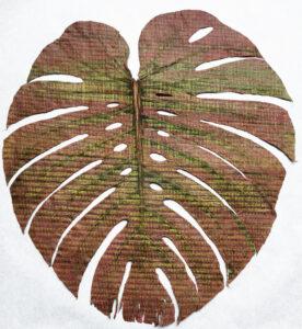 Raffaella della Olga, INCANTAZIONI, 2021. Tapuscrit sur feuilles de Monstera Deliciosa, papier carbone