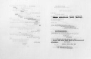Raffaella della Olga, Un Coup de Dès - Trame, 2018. Tapuscrit sur papier calque avec papier carbone, 32x50 cm, vu de l'ensemble