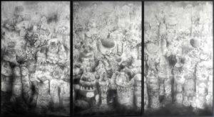 Quentin Spohn, Sans titre, 2018, graphite et acrylique sur papier, 330 x 190 cm