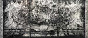 Quentin Spohn, Sans titre, 2017, pierre noire sur toile, 245 x 555 cm
