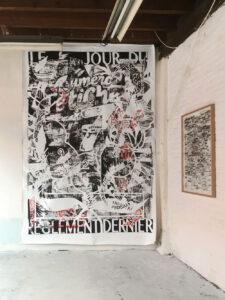 Thibault Scemama de Gialluly, Le jour du règlement dernier, sérigraphie et peinture sur toile, 300x200 cm, 2019-2021