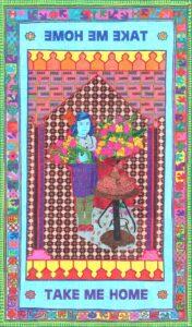 Araks Sahakyan, Paper Carpet #3, Take me home, Papier et feutres, 30 feuilles assemblées dans une boîte, une fois dépliées, elles forment un dessin de 100 x 171 cm, 2019