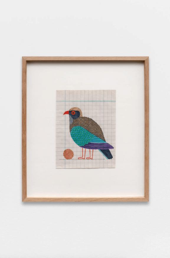 Jochen Gerner, Eurystome d'Asie, 2020, feutre sur support imprimé, 17,2 x 13,2 cm / 32 x 28,5 cm avec cadre. ©Galerie Anne Barrault