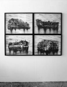 Nicolas Daubanes, Prison ship, Dessins à la poudre de fer aimantée et incrustation d'acier incandéscent sur verre, 4 cadres 60 x 80 cm, 2020. ©Galerie Maubert